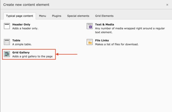 Create content element